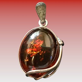 Vintage Amber and Sterling Pendant