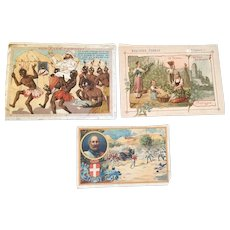 3 French Trade Cards  - Biscuits Pernot - Late 1800's