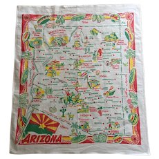 Vintage Tablecloth - Map of Arizona