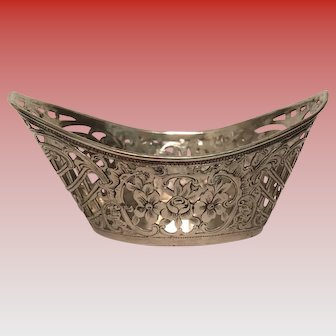 Antique German Silver Pierced Small Bowl