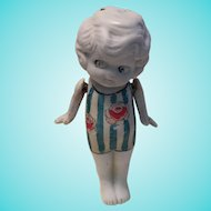 Vintage Painted Bisque Doll - Marked Japan