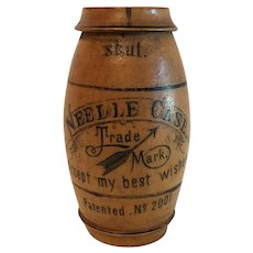Vintage Wood Barrel Shape Needle Case