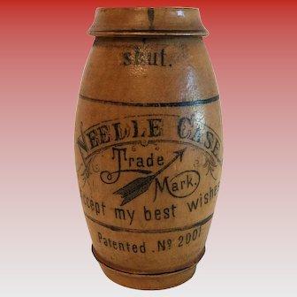 Vintage Wood Barrel Shape Needle Case