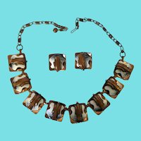 Vintage Copper and Enamel Necklace and Earrings