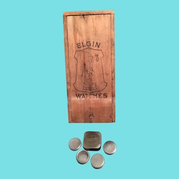 Vintage Elgin Wood Shipping Crate and  Elgin Watch Movement Tins