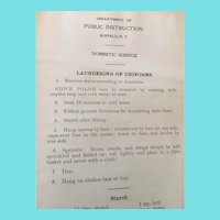 Domestic Science Textbook in Personal Journal Circa 1930-1940