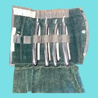 Vintage Personal Shaving Pouch with 4 Straight Razors