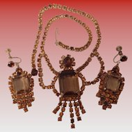 VINTAGE AMBER RHINESTONE FESTOON NECKLACE - EARRINGS - DEMI PARURE SET