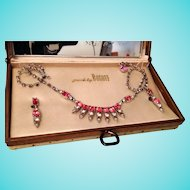 BOGOFF Pink Rhinestone Necklace and Earrings in Original Box
