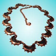 Vintage Renoir Copper & Black Necklace