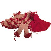 Beautiful Crochet 3 Piece Doll Outfit- Dress- Pantalettes - Cape