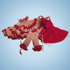 Beautiful Crochet 3 Piece Doll Outfit- Dress- Pantalettes - Cape