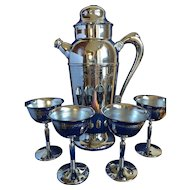 Vintage Art Deco Style Cocktail/Martini Shaker and Goblets