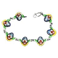 Sterling Silver and Enamel Clown Faces Bracelet