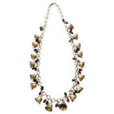 Signed Hobe Holiday Necklace of Bells