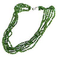 Green Glass Six Strand Bead Necklace