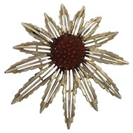 Sarah Coventry Gold Tone Flower Brooch