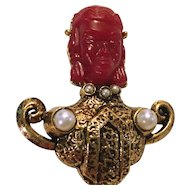 Vintage Red Asian Face with Gold Toned Metal Brooch