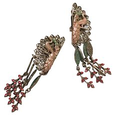 Vintage and Dramatic Don Lin Dangle Clip Earrings