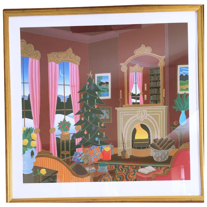 Christmas In Connecticut House.Thomas Mcknight Christmas In Connecticut Serigraph On Paper Hand Signed 98 175