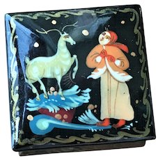 Vintage Small Hand Painted Lacquer Russian Box