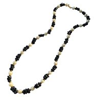 Dauplaise Faux Pearl and Faux Lapis Strand Necklace