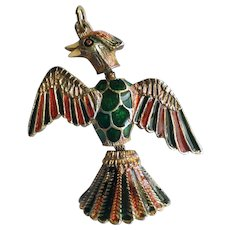 Articulated Gold Plated Enamel Phoenix Pendant