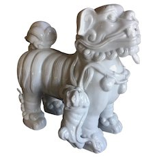 Japanese White Porcelain Foo Dog or Shishi