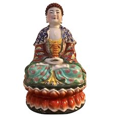Chinese Republic Period Porcelain Buddha Figure 11 Inch