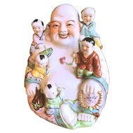 Porcelain Twelve Inch Laughing Buddha with Five Children