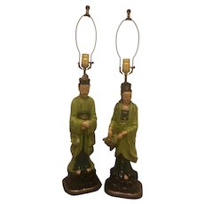 Mid-Century Chalkware Asian Emperor and Empress Figural Lamps