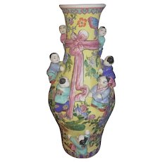 Republic Period Chinese Patterned Ceramic Vase with Climbing Children
