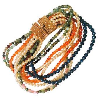 Stunning Vintage Ciner Multistrand Bead Bracelet