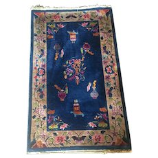 Art Deco Chinese Carpet Dark Blue Flower and Vase Motif