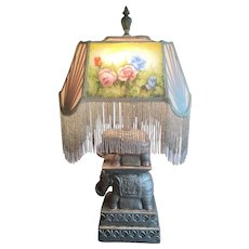 Vintage Elephant Lamp with stunning fringed Mica and Fabric Shade