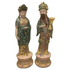 Mid Century Italian Ceramic Emperor and Empress Statues 27 and 26 Inches