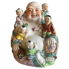 Porcelain 12 Inch Laughing Buddha with Five Children