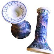 Chines Porcelain Koi Motiff Candlesticks