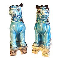 Mid Century Japanese Ceramic Shishi and Komainu Lion Foo Dogs a Pair