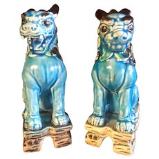 Mid Century Japanese Ceramic Shishi and Komainu Lion Dogs a Pair