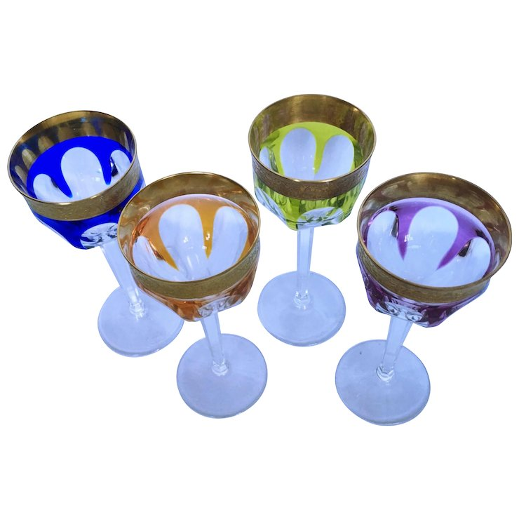 Four Moser Crystal Wine Glasses