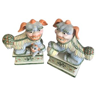 Vintage Ceramic Chinese Pastel Foo Dogs/Guardian Lions