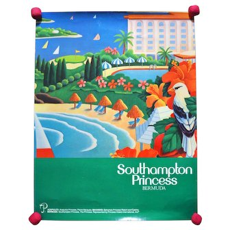 Vintage Original Southampton Princess Bermuda Travel Poster