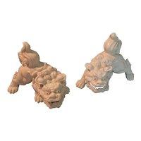 Japanese White Porcelain Foo Dogs or Shishi