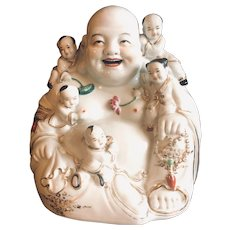 Mid-Century Laughing Buddha with Five Children with Markings