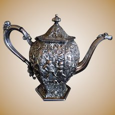 BARBOUR SILVER CO Victorian Silver Plate Tea/Coffee Pot, Embossed Dutch Figures