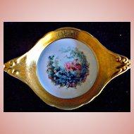 Vintage Original Pickard Gold Encrusted Dish, Romantic Gazebo Scene, Lady on Swing, #276