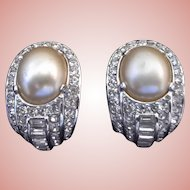 Rhinestone & Simulated Pearl Ciner Clip-On Earrings, 1940s - 1960s