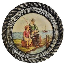 Genuine ARTINI Hand Painted Nautical Engraving/Four Dimensional/Twin Etched/Fishermen on Pier