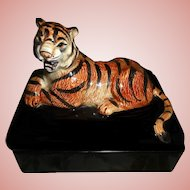 FITZ & FLOYD Fierce Jungle Tiger On Ceramic Box With Two Sets of Playing Cards
